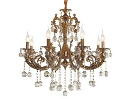 Victorian Metal Frame Pendant Chandelier w/ K9 Clear Crystal Glass (Small)