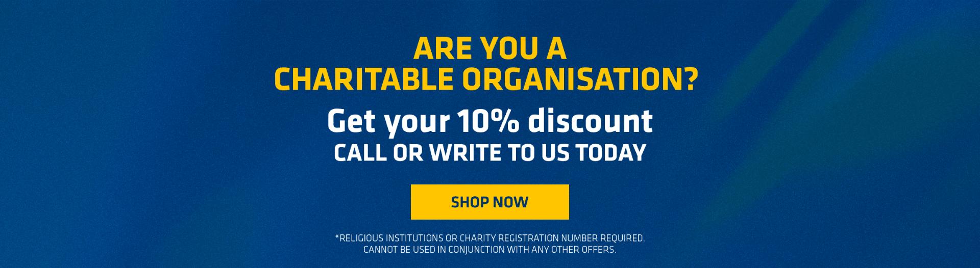 10% discount to any Religious Establishments
